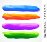 real four watercolor brush... | Shutterstock .eps vector #644547571