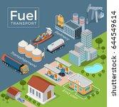 flat isometric refinery ... | Shutterstock .eps vector #644549614