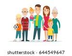 flat happy family portrait...   Shutterstock .eps vector #644549647