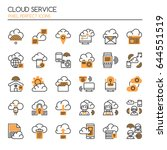 cloud service   thin line and... | Shutterstock .eps vector #644551519