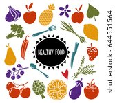 healthy food set. fruits ... | Shutterstock .eps vector #644551564