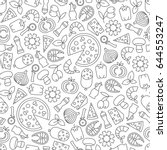 seamless pattern with pizza... | Shutterstock .eps vector #644553247
