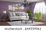 interior living room. 3d... | Shutterstock . vector #644559061
