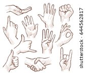 line drawing doodle hands... | Shutterstock .eps vector #644562817