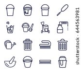 bucket icons set. set of 16... | Shutterstock .eps vector #644563981