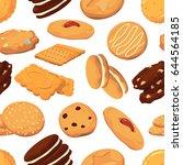 different cookies in cartoon... | Shutterstock .eps vector #644564185