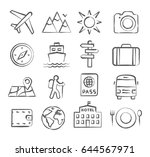 travel and tourism icon set in... | Shutterstock .eps vector #644567971