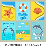 vector set of bright summer... | Shutterstock .eps vector #644571235