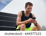fitness man runner using smart... | Shutterstock . vector #644577121