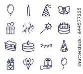 birthday icons set. set of 16... | Shutterstock .eps vector #644577325
