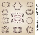 vintage old empty frames and... | Shutterstock .eps vector #644579365