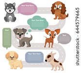 Stock vector funny cartoon puppy pet dogs with speech bubbles vector set 644579665