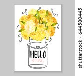 flower greeting card background ... | Shutterstock .eps vector #644580445