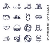 swim icons set. set of 16 swim... | Shutterstock .eps vector #644582215