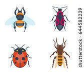 colorful insects icons isolated ... | Shutterstock .eps vector #644582239