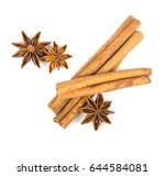 close up brown cinnamon stick... | Shutterstock . vector #644584081