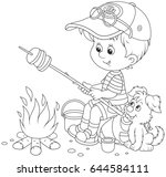 boy scout roasting bread on... | Shutterstock .eps vector #644584111