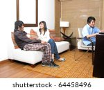 student in living room with...   Shutterstock . vector #64458496