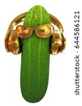 cucumber with sun glass and... | Shutterstock . vector #644586121