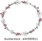 circle flowers border  | Shutterstock .eps vector #644589811