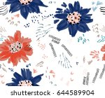 roughly drawn spring flowers...   Shutterstock .eps vector #644589904