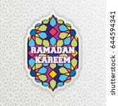 ramadan kareem greeting card.... | Shutterstock .eps vector #644594341