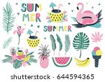 summer set with hand drawn... | Shutterstock .eps vector #644594365