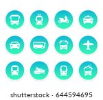 passenger transport icons  bus  ... | Shutterstock .eps vector #644594695