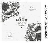 sunflower vintage design... | Shutterstock .eps vector #644599099