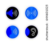 set of flat line icon. voice... | Shutterstock .eps vector #644601025