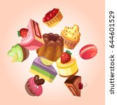 sweet shop vector background... | Shutterstock .eps vector #644601529