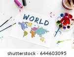 colorful world map geography... | Shutterstock . vector #644603095