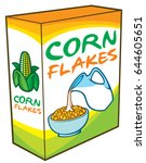 corn flakes packing box vector... | Shutterstock .eps vector #644605651