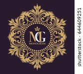 elegant lines of calligraphic... | Shutterstock .eps vector #644609251