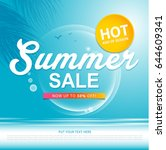 summer sale template banner or... | Shutterstock .eps vector #644609341