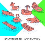 floating air mattress. set of... | Shutterstock .eps vector #644609497
