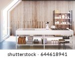 front view of an interior of an ... | Shutterstock . vector #644618941