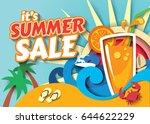 summer sale. vector... | Shutterstock .eps vector #644622229