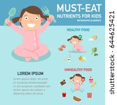 must eat nutrients for kids... | Shutterstock .eps vector #644625421