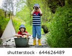 cute children  boy brothers ... | Shutterstock . vector #644626489