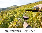filling up a wineglass. lavaux...