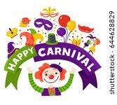 mardi gras traditional carnival ... | Shutterstock .eps vector #644628829