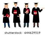 student graduation set vector... | Shutterstock .eps vector #644629519