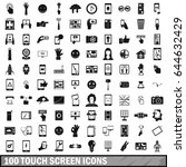 100 touch screen icons set in... | Shutterstock .eps vector #644632429