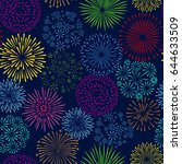 night firework seamless pattern.... | Shutterstock .eps vector #644633509