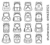 bag pack linear icons. vector... | Shutterstock .eps vector #644633521