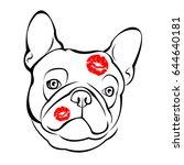 french bulldog background.... | Shutterstock .eps vector #644640181