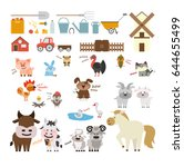 farm animals set. | Shutterstock .eps vector #644655499