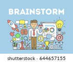 brainstorming illustration... | Shutterstock .eps vector #644657155