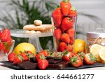the strawberries with a dark... | Shutterstock . vector #644661277